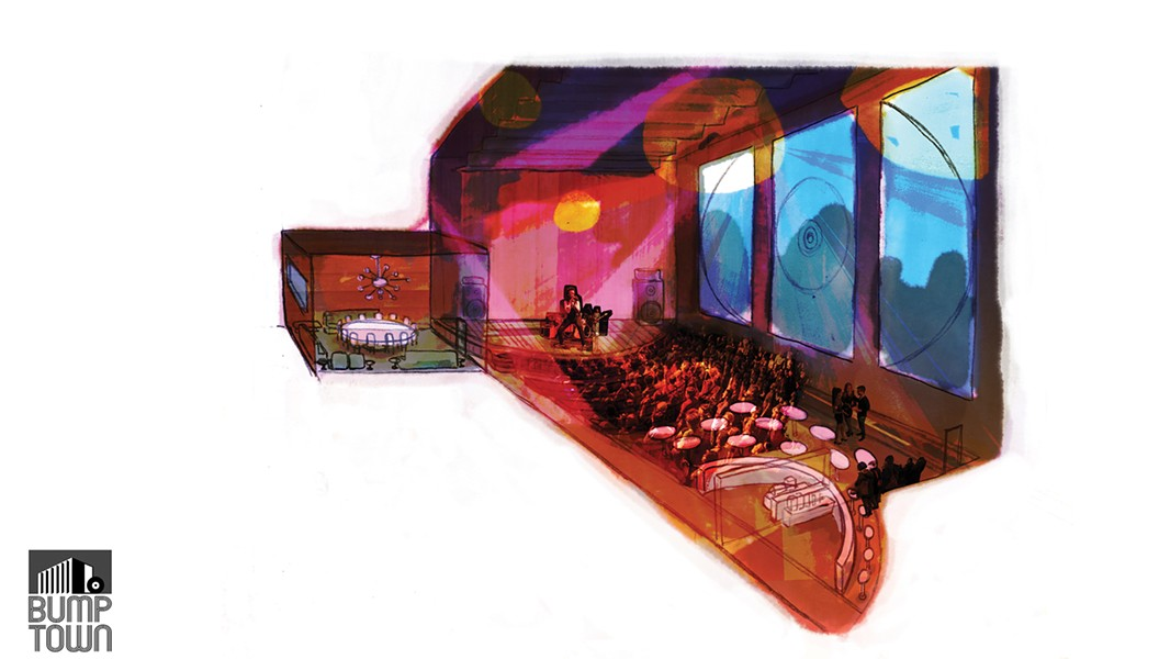 An artist's rendering of how Bump Town's performance space might be used at night.