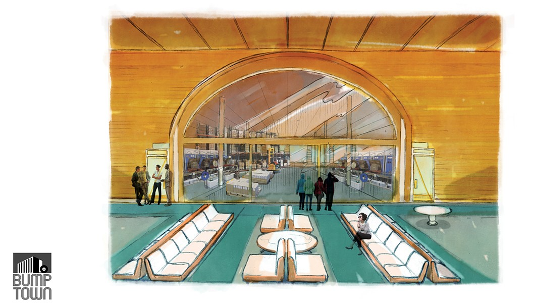 An artist's rendering of Bump Town's warehouse lobby.