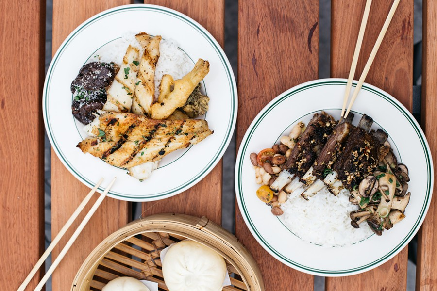At lunch, most diners assemble rice plates from pre-made dishes, such as beans, lamb belly, and mushrooms (right). - PHOTO BY MELATI CITRAWIREJA
