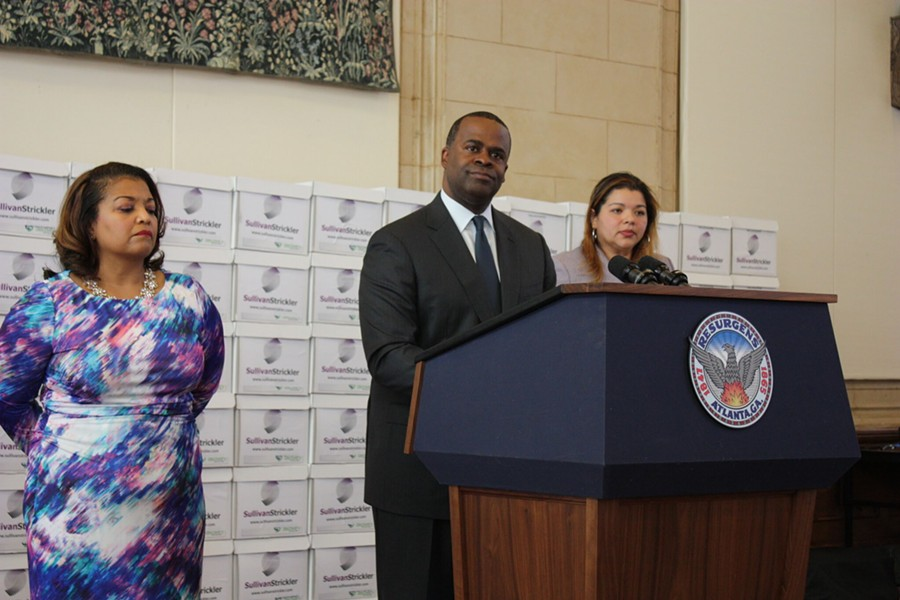 Atlanta Mayor Kasim Reed's wall of records was just for show. - PHOTO BY CHRIS JOYNER, ATLANTA JOURNAL-CONSTITUTION
