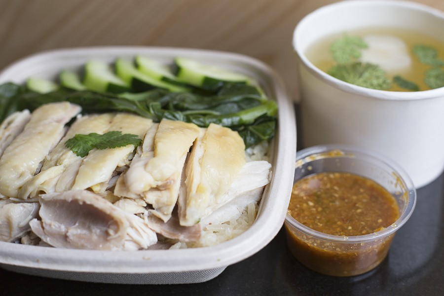 Khao mun gai stars at Chick'n Rice, fully equipped with soup on the side. - PHOTO BY RICHARD LOMIBAO