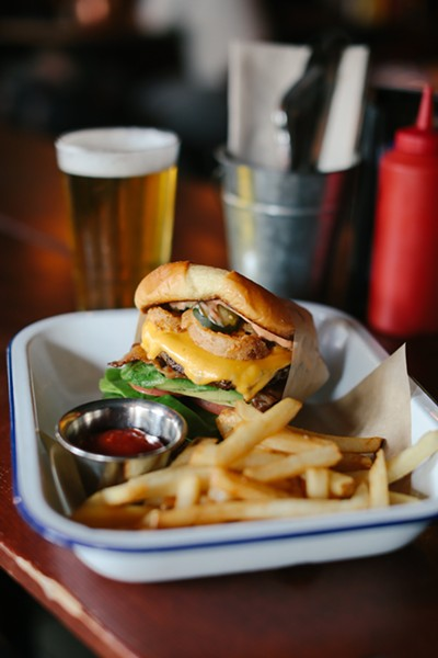 A burger at Oakland's newest sports bar. - PHOTO COURTESY OF JORDAN WISE