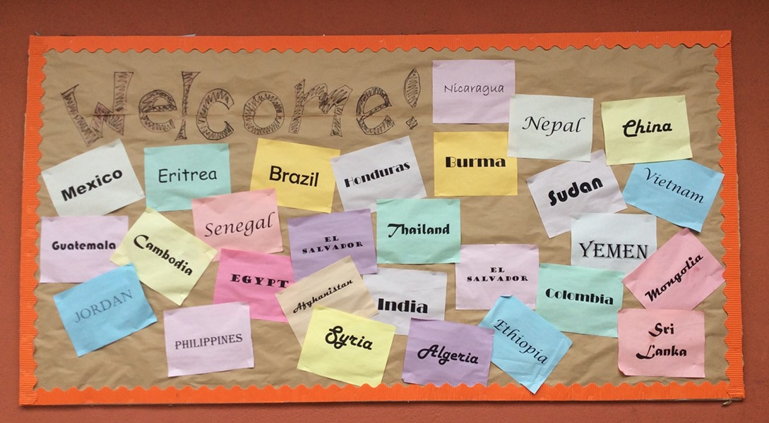 A sign at Oakland International High welcomes students from around the world. - THERESA HARRINGTON FOR EDSOURCE