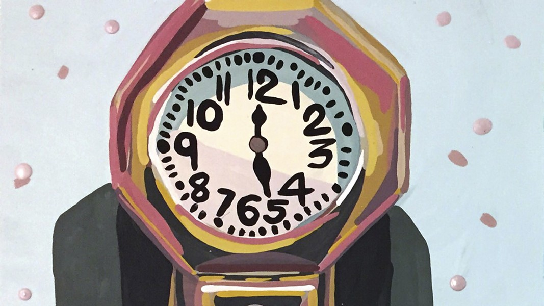 Hope Armstrong's clock piece is one part of her installation. - PHOTO COURTESY OF ABRAMS CLAGHORN GALLERY