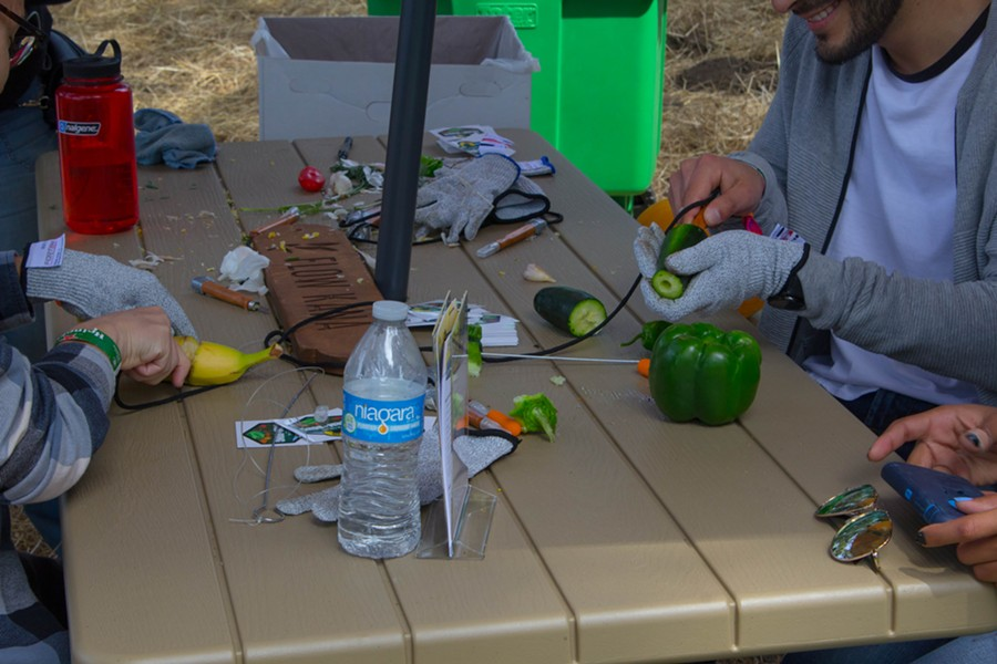 Festival attendees can craft bongs out of produce at Grass Lands. - PHOTO BY ADRIENNE LEE