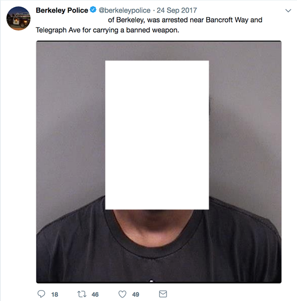 Berkeley police tweeted the mug shot, name, and age of a protester who was arrested last year. The individual was never charged with a crime by the District Attorney.
