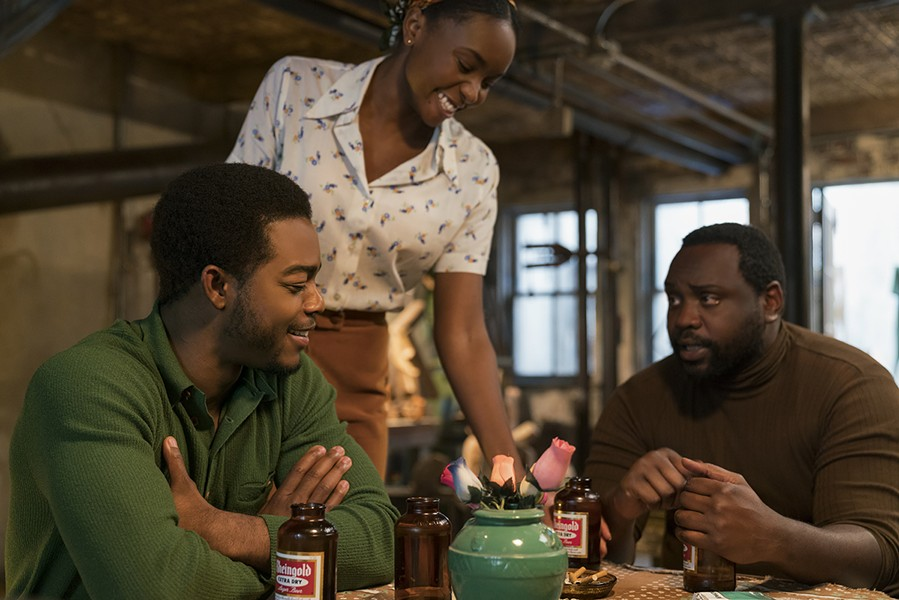 Stephan James, KiKi Layne, and Brian Tyree Henry relax.