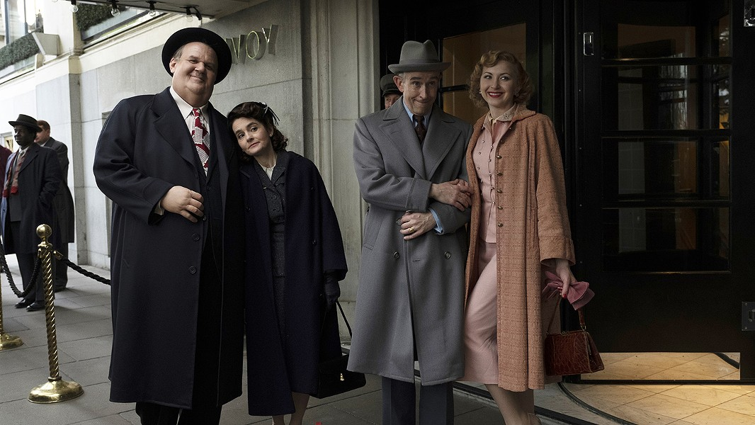 L-R, John Reilly, Shirley Henderson, Steve Coogan, and Nina Arianda star in Stan & Ollie.