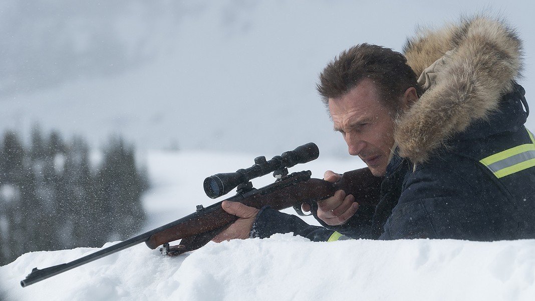 Liam Neeson aims to displease in Cold Pursuit.