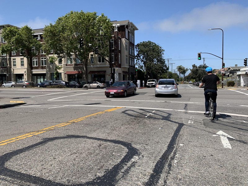 Bike advocates have momentum to push for protected bike lanes along the San Pablo Avenue whole corridor. - PHOTO BY DIEGO AGUILAR