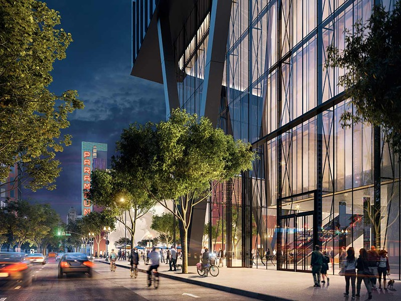 A rendering of the Kaiser Permanente Thrive Center on Telegraph Avenue in Oakland. - KAISER PERMANENT