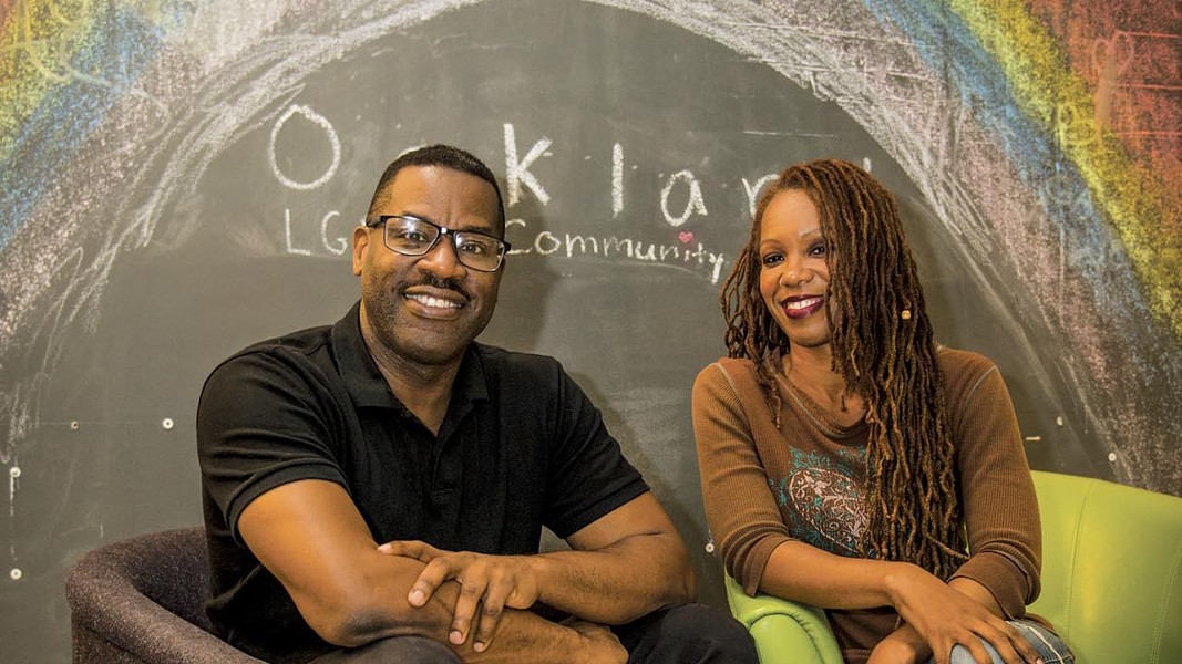 Co-founder Joe Hawkins and Vice President Dawn Edwards recently celebrated the second anniversary of the Oakland LGBTQ Community Center. - PHOTO BY PAT MAZZERA