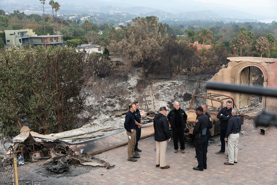 President Trump visiting California wildfires last November, along with Gavin Newsom and Jerry Brown. - WIKIMEDIA COMMONS