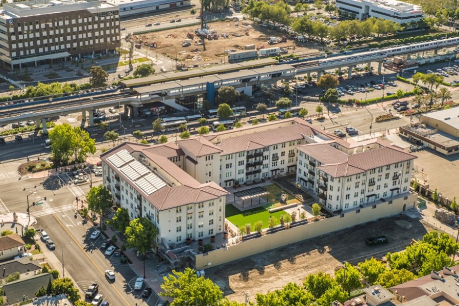 Cities like San Leandro have already made moves toward building density in transportation corridors, including the Marea Alta apartments across the street from the San Leandro BART station. Yet worries over losing local control also persist. - BRIDGE HOUSING