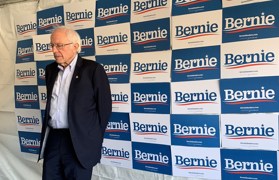 Sen. Bernie Sanders prior to his speech Monday afternoon before thousands of supporters in Richmond. - COURTESY MALIA VELLA