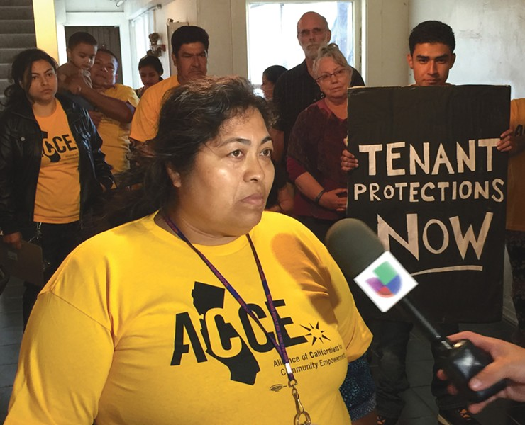 PUSHING FOR A RENT STRIKE: Blance Retano says local evictions moratoriums are not up to the task of helping tenants withstand the pandemic's economic impact. - ACCE