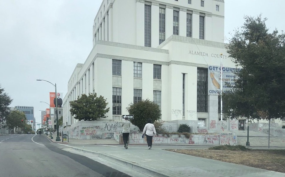 The Alameda County courthouse near Lake Merritt in Oakland was vandalized on Saturday night following a protest in solidarity with demonstrators in Portland. - ALAMEDA COUNTY SHERIFF'S OFFICE