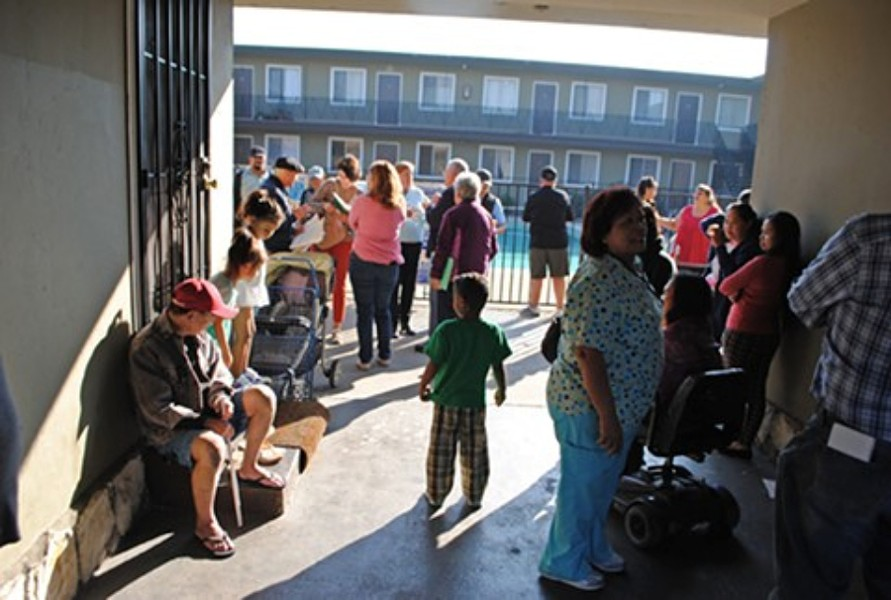 Tenants at the Bay View Apartments in Alameda. - STEVEN TAVARES