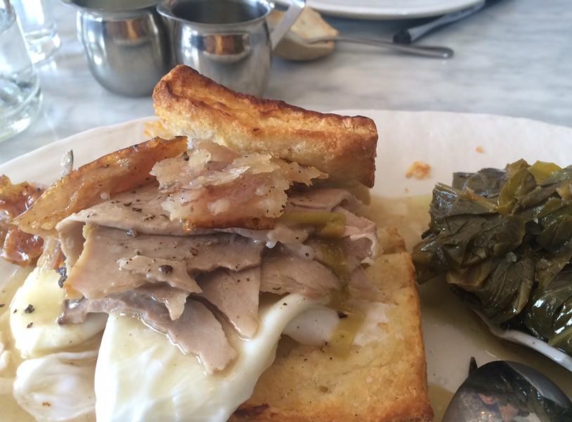 Slow-cooked Mangalitsa pork and buttermilk biscuits. - LUKE TSAI