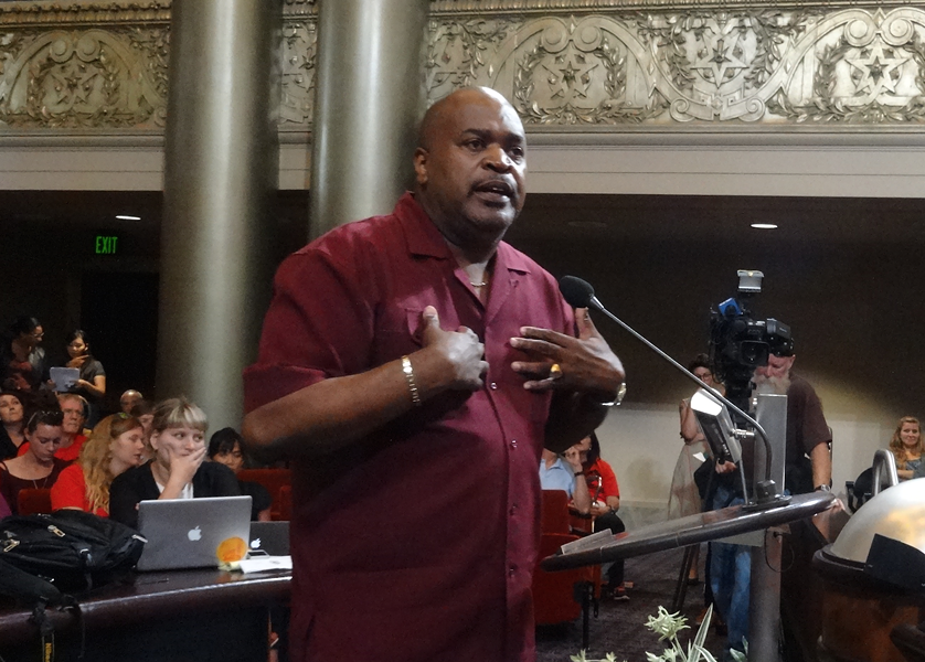 Pastor Kevin Hope supports shipping coal through Oakland. - DARWIN BONDGRAHAM