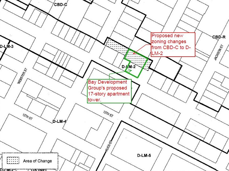 Zoning changes recently proposed by city staff overlap with Bay Development Group's apartment tower plans. - DARWIN BONDGRAHAM