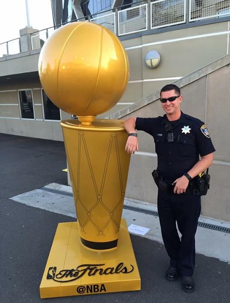 Deceased Oakland Police Officer Brendan O'Brien outside Oracle Arena.