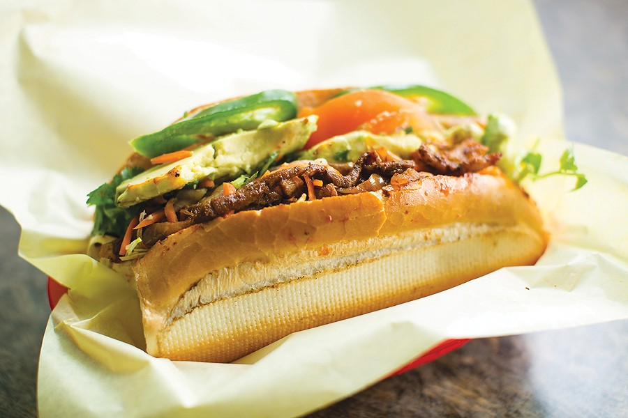 Best Cross-Cultural Mashup in Sandwich Form: Al Pastor Banh Mi. - PHOTO BY BERT JOHNSON /FILE