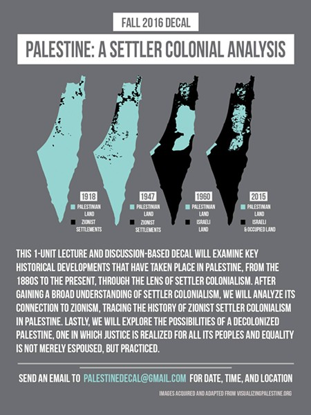 A flier used to promote a contentious course on Palestine, which administrators suspended this week.