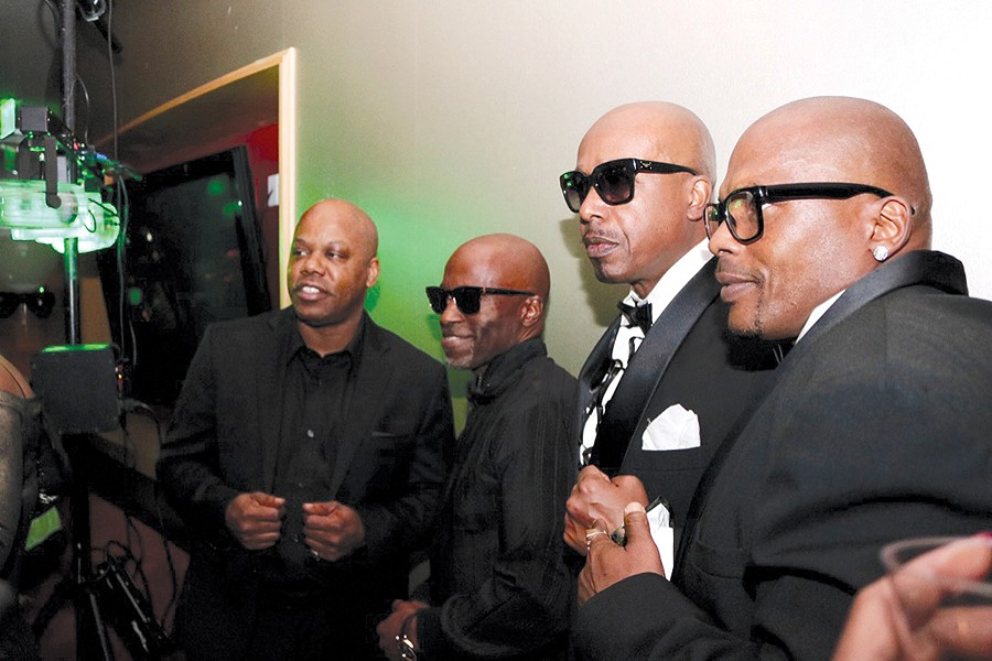 """Left to right: Too $hort, Darryl Reed, MC Hammer, and Wee Wee at Reed's """"welcome back"""" party earlier this month. - DAMIEN MCDUFFIE"""