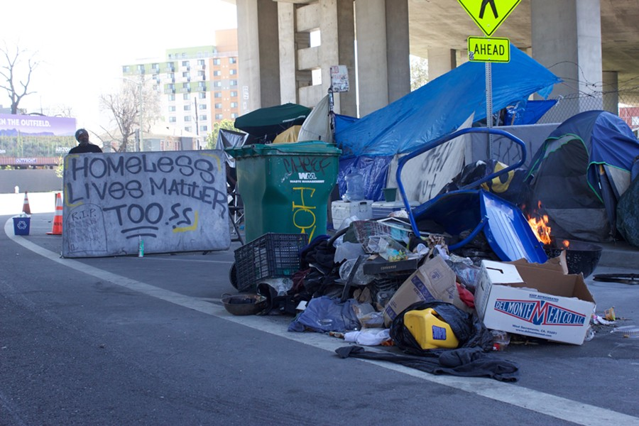 The encampment at Northgate Avenue and Sycamore Street in Oakland this past April. - PHOTO BY HAYDEN BRITTON