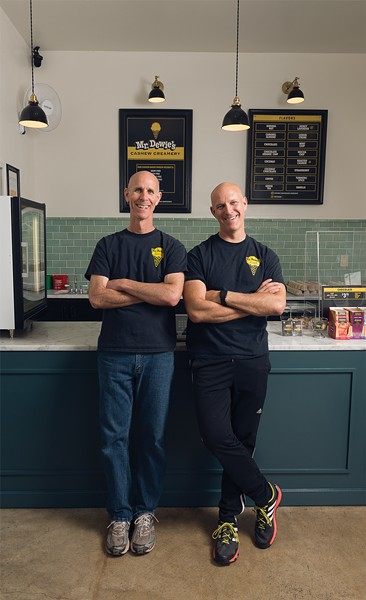 Ari (left) and Andrew Cohen, bringing you vegan ice cream in Emeryville and Albany, courtesy of Mr. Dewie's. - PHOTO BY LANCE YAMAMOTO