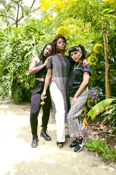 From left to right, the hosts of Las Brujas Radio: Imani Atlantic, Queens D Light and Nono (aka Namaste Shawty) - PHOTO BY SASHA KELLEY
