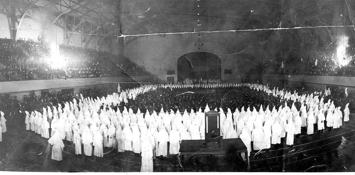In 1925, 8,500 Ku Klux Klan members held a giant-cross burning inside what is now known as Kaiser Convention Center in Oakland. - PHOTO COURTESY OF THE GARY MILLS FAMILY