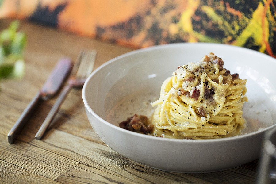 The carbonara reaches perfection. - PHOTO BY ANDRIA LO