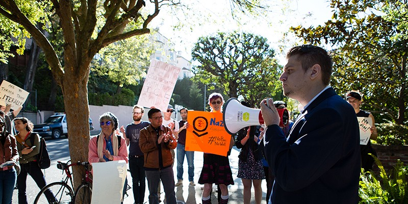Protest at Peter Thiel's Mansion Armand Domalewski addressed a crowd of protesters.