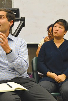 A's President Dave Kaval (left) spent last week at faculty forums.