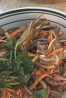 In addition to the jiaozi, try the seaweed, top, or pig ear salad.