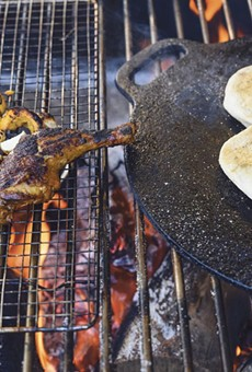 Wood-fired squash and chicken are ingredients in Popoca's gallo en chicha, a stew.
