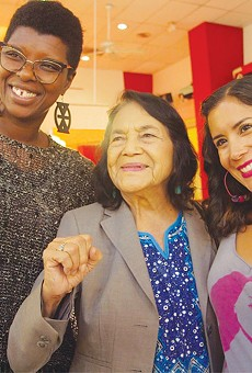 MENTORS:  (From left) Marilyn Hollinquest, Dolores Huerta and Anayvette Martinez.