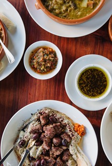 "A spread of Yemeni-inspired ""Arabic fusion"" food at Saha."