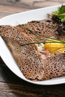 The galette complète took on a brown caramel shine, complete with a nutty buckwheat character and a sunny-side up egg in the middle.