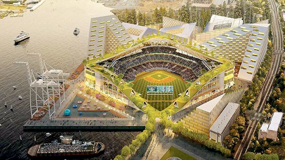 The A's announced their Howard Terminal ballpark plans on Nov. 28. - COURTESY OF BJARKE INGLES GROUP