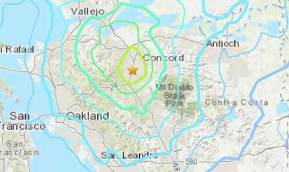 Monday night's earthquake was centered in Pleasant Hill. - USGS