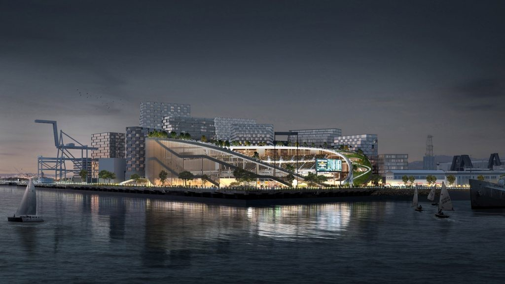 A bay view rendering of the proposed Howard Terminal ballpark in downtown Oakland. - OAKLAND ATHLETICS