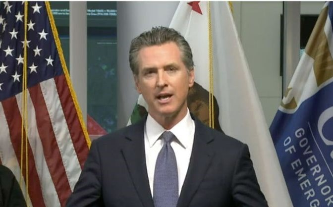 Gov. Gavin Newsom during his daily televised press conference on covid-19 last week.