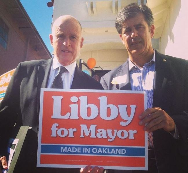 Governor Jerry Brown and John Protopappas at a Schaaf campaign event last year. - FACEBOOK