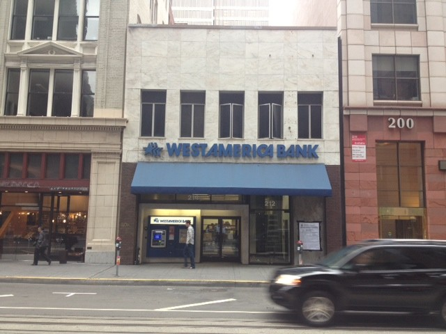 Former facade of 214 California St. in downtown SF.