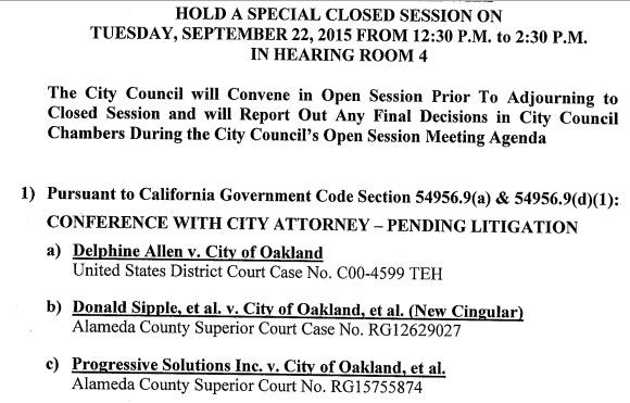 Agenda for the Oakland city council's closed session meeting today.