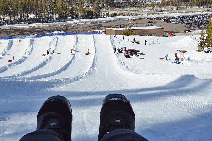 Snow tubing is a blast.