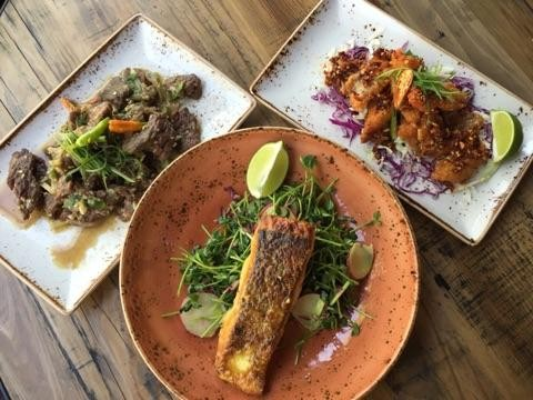 A trio of Southeast Asian dishes at Teni East Kitchen. - TENI EAST KITCHEN